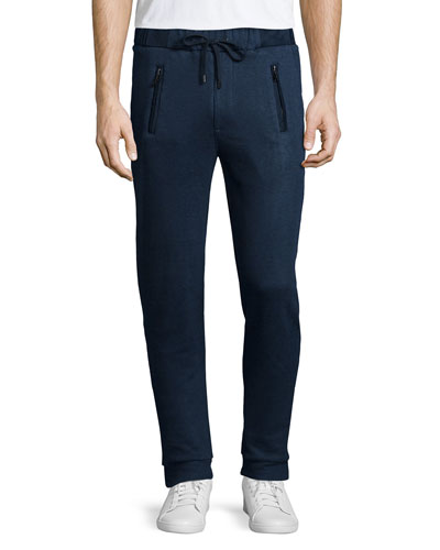 Linen-Blend Sweatpants, Navy
