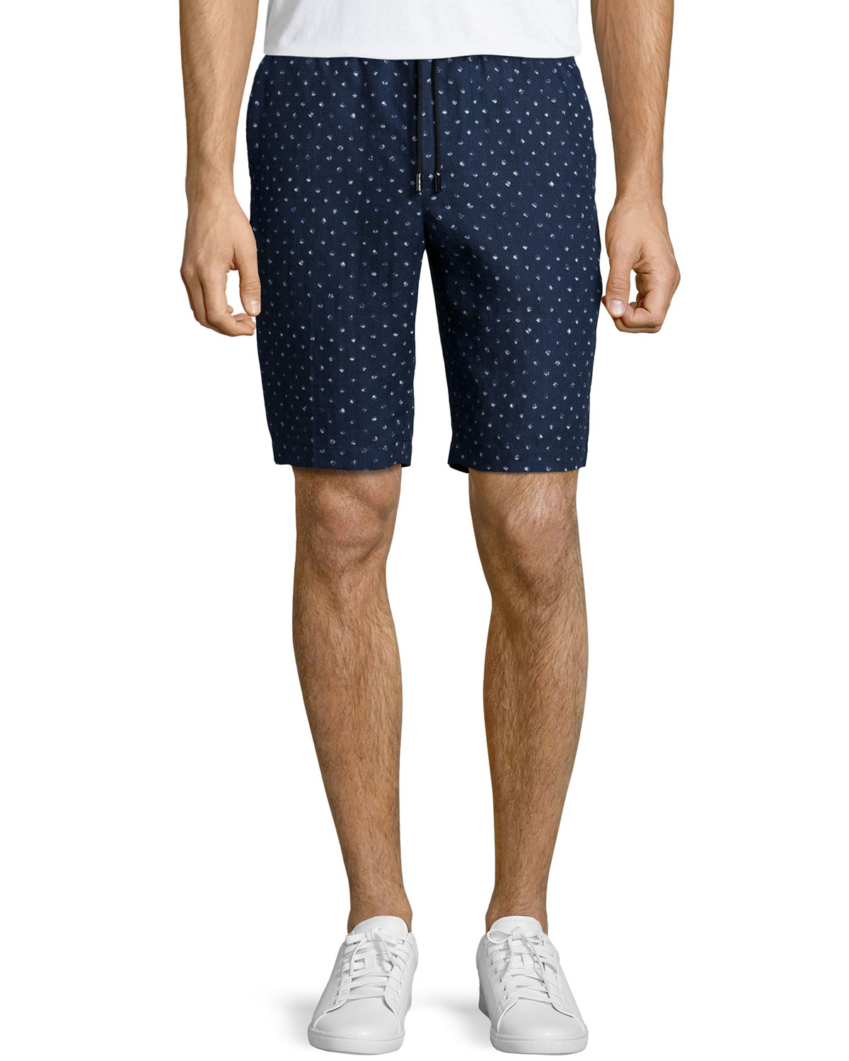 Batik Diamond-Print Linen Shorts, Navy