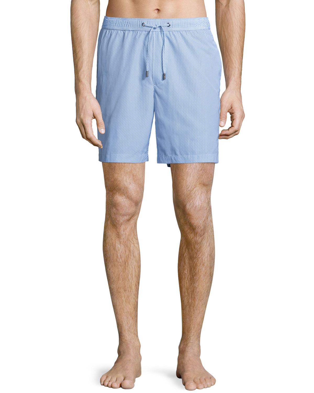 Geometric-Print Swim Shorts, Blue