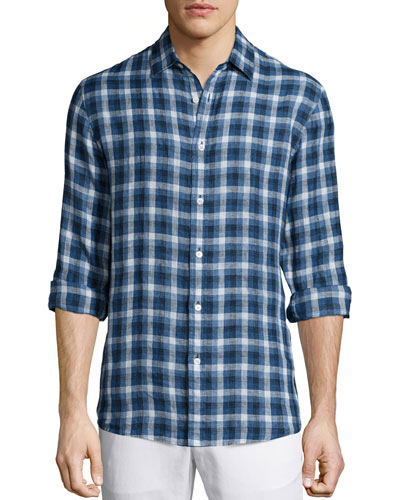 Large-Check Tailored-Fit Shirt, Blue
