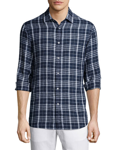 Tailored Plaid Long-Sleeve Shirt, Navy