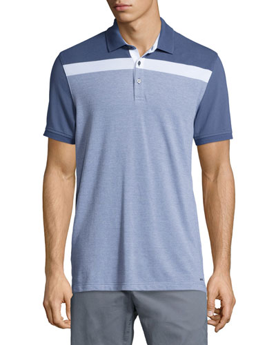 Striped-Chest Short-Sleeve Polo Shirt, Blue
