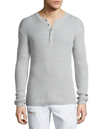 Ribbed Long-Sleeve Henley Shirt, Gray
