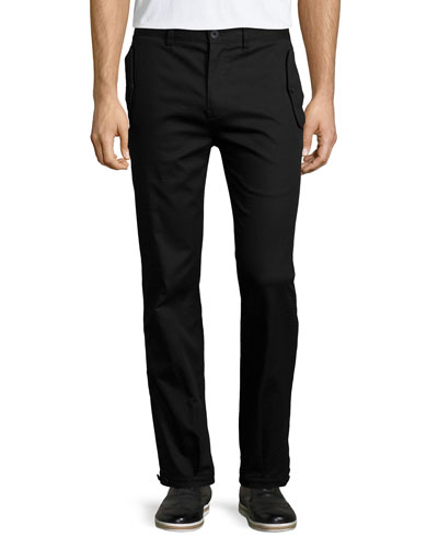 Flap-Pocket Straight-Leg Trouser Pants, Black