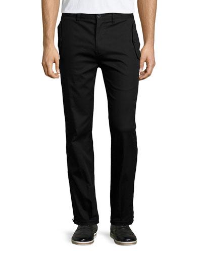 Flap-Pocket Straight-Leg Trouser Pants, Black