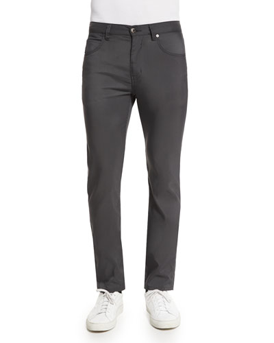 Five-Pocket Tech Canvas Straight-Leg Pants, Charcoal
