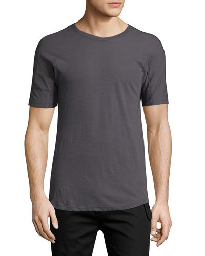 Solid Short-Sleeve Crewneck T-Shirt, Charcoal