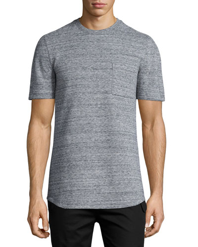 Melange Short-Sleeve Crewneck T-Shirt, Gray