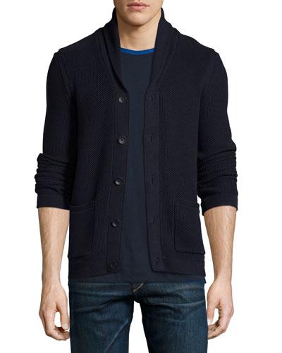 Avery Shawl-Collar Textured Cardigan, Navy