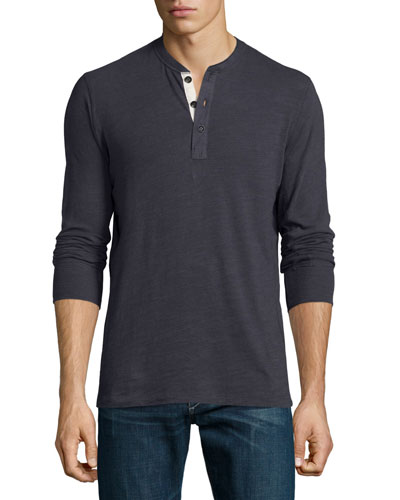 Standard Issue Basic Long-Sleeve Henley Shirt, Navy