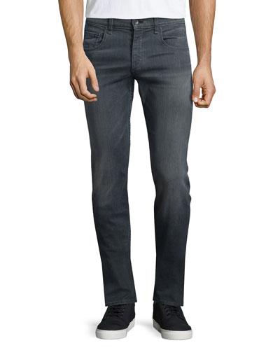 Standard-Fit Washed Denim Jeans, Gray