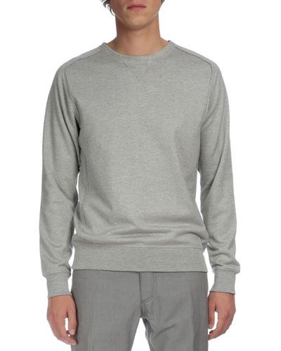 Raw-Edge Crewneck Sweater, Gray