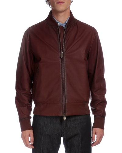 Full-Zip Leather Bomber Jacket, Brown