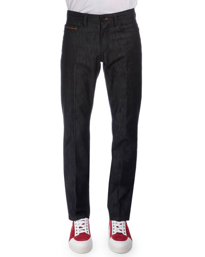 Stretch Denim Jeans with Leather Detail, Navy