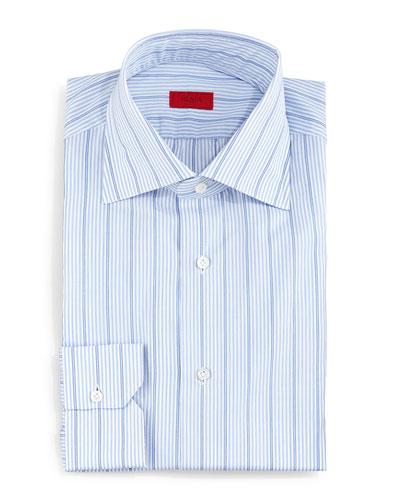 Wide Stripe Dress Shirt, Light Blue