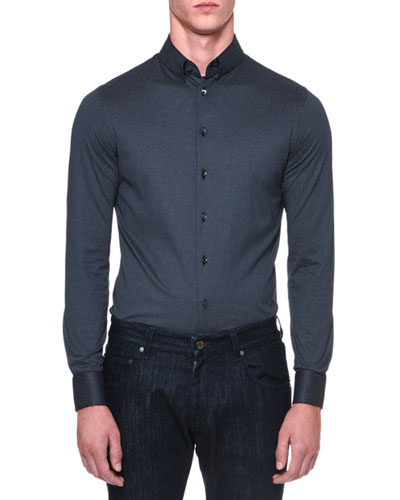 Printed Button-Down Jersey Sport Shirt, Navy