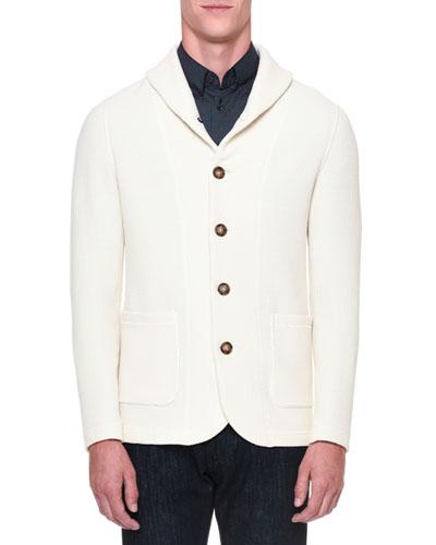 Shawl-Collar Button-Down Cardigan, Ivory