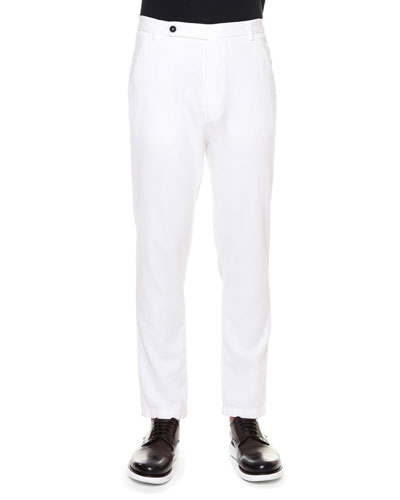 Textured Flat-Front Cotton Pants, White