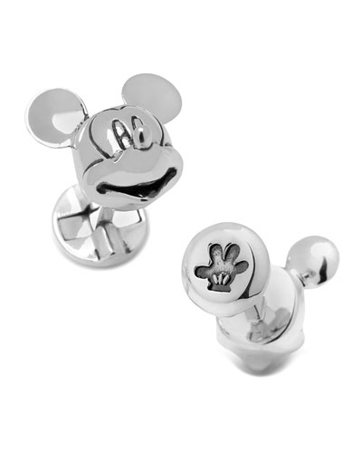 Mouse Head Silver Cuff Links