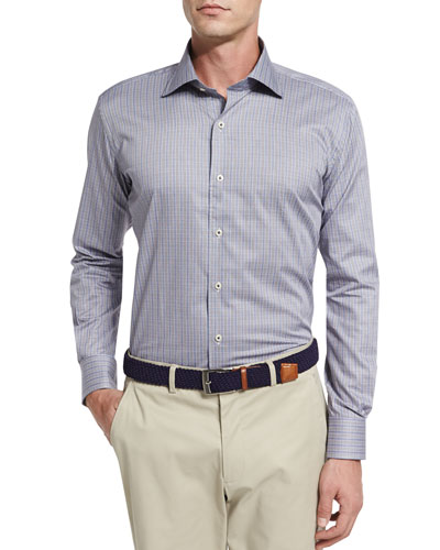 Milano End-on-End Sport Shirt, Navy