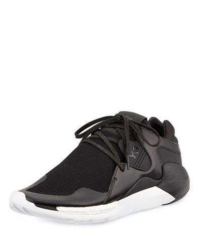 QR Run Leather-Mesh Sneaker, Black