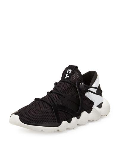 Kyujo Leather Low-Top Sneaker, Black/White