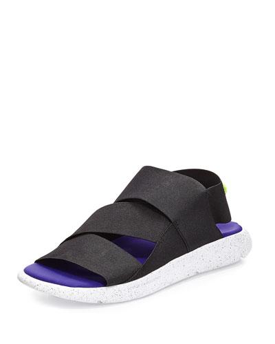 Qasa Strappy Slide-On Sandal, White/Black/Purple