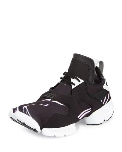 Kohna Lightning-Print Leather Sneaker, Black/White Purple