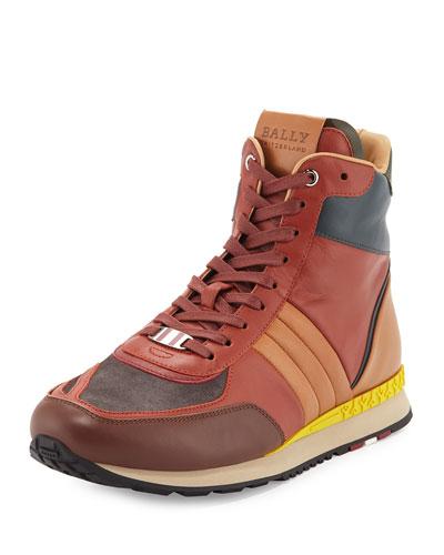 Asiaki Colorblock Leather High-Top Trainer Sneaker, Pumpkin