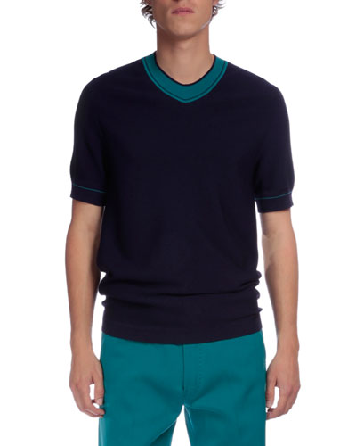 Contrast-Collar Short-Sleeve Sweater, Blue