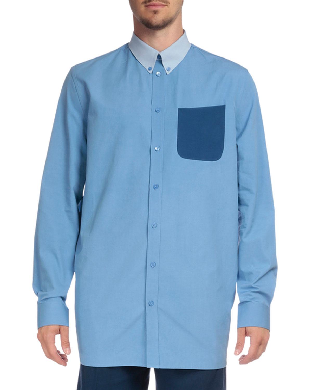 Contrast Collar & Pocket Button-Down Shirt, Blue