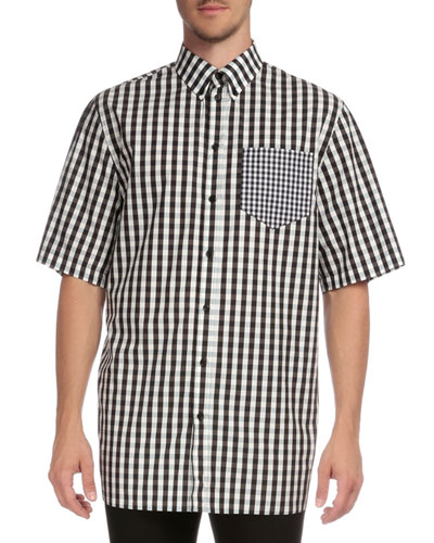 Gingham Short-Sleeve Sport Shirt with Pocket, Black