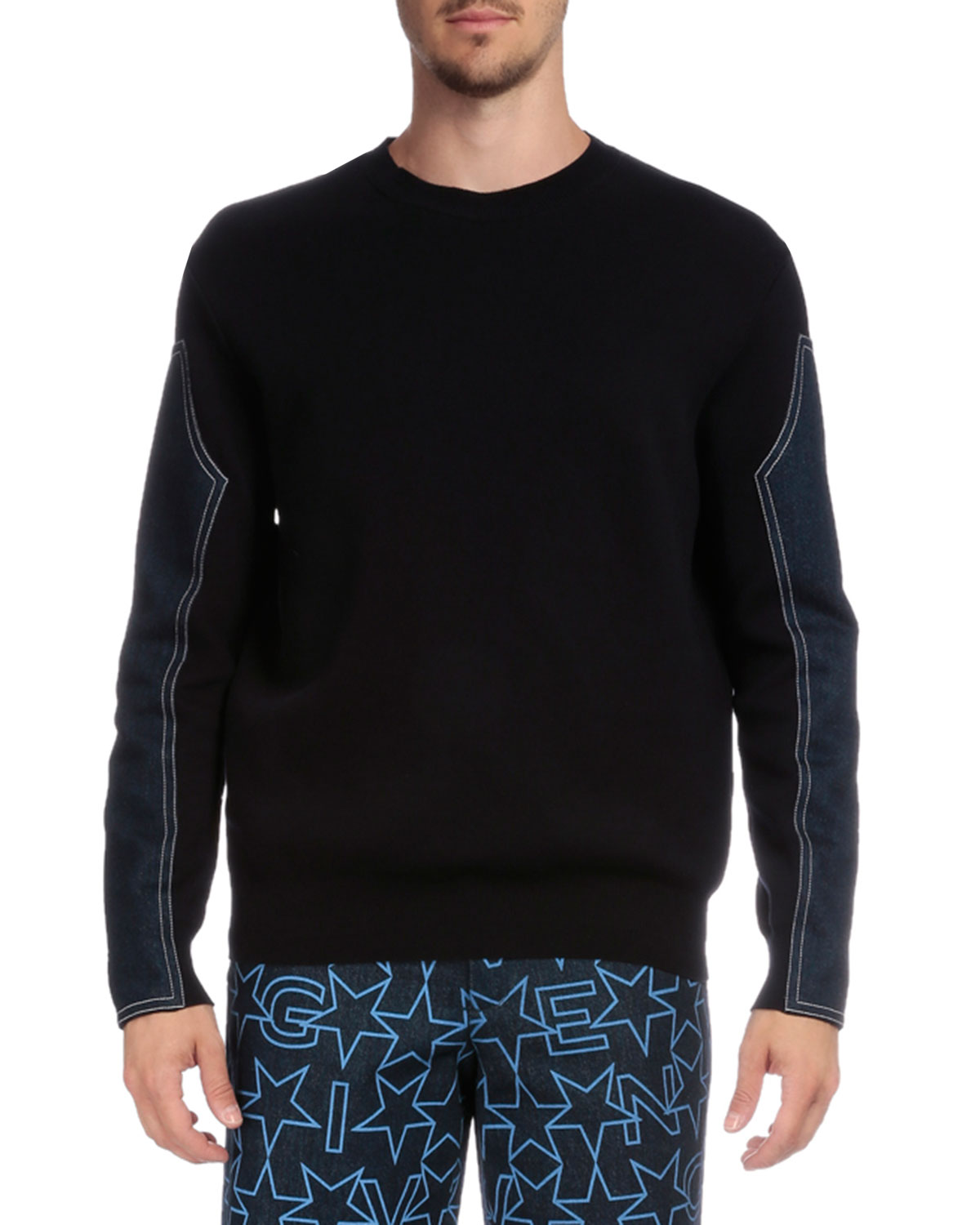 Crewneck Sweater with Denim Sleeves, Navy