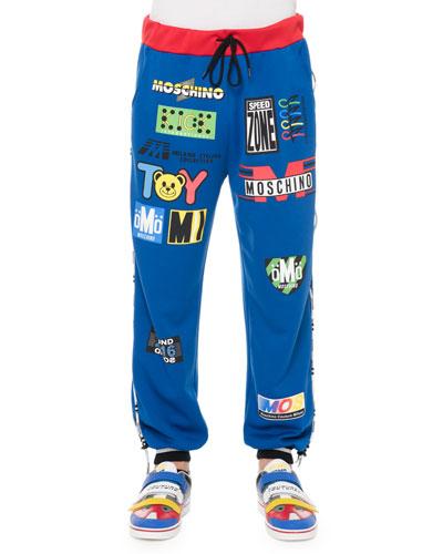 Logo-Print Banded Sweatpants, Blue
