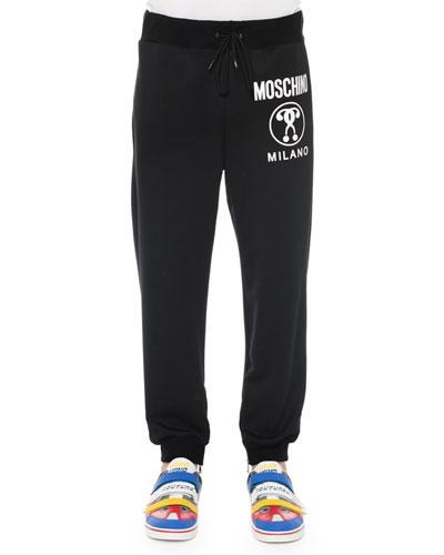 Logo-Print Pull-On Sweatpants, Black