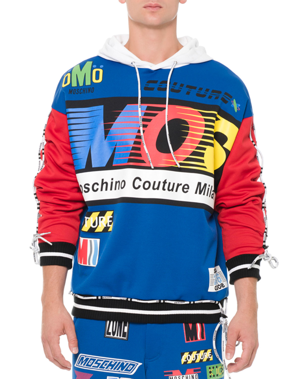 Hooded Sweatshirt with Race Patches, Blue