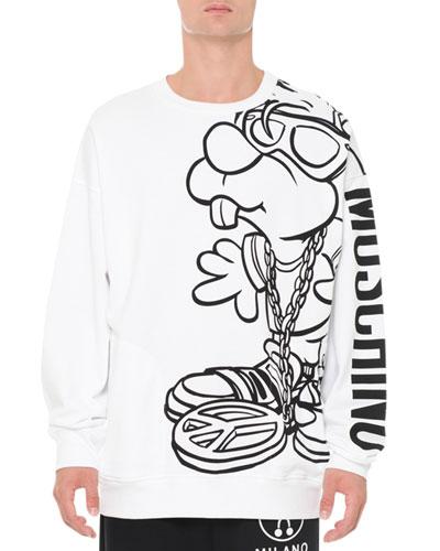 Cartoon-Graphic Long-Sleeve Logo Sweatshirt, White