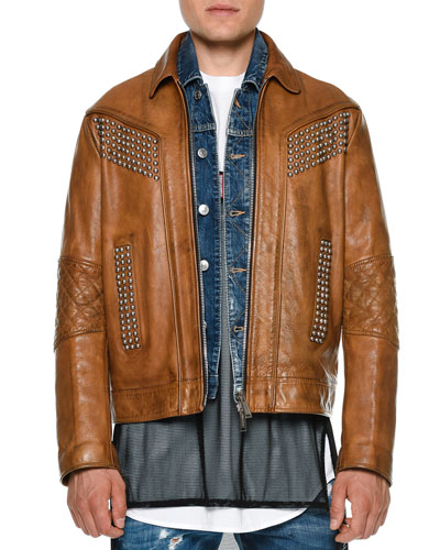 Studded Zip-Up Leather Jacket, Camel