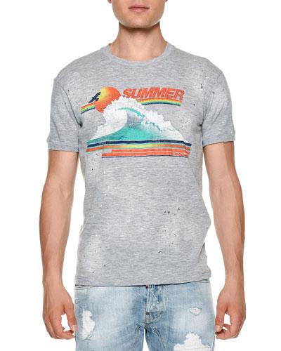 Summer Wave Graphic T-Shirt, Dark Gray