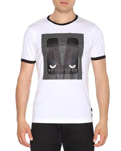 Ringer Monster Eyes Short-Sleeve T-Shirt, White