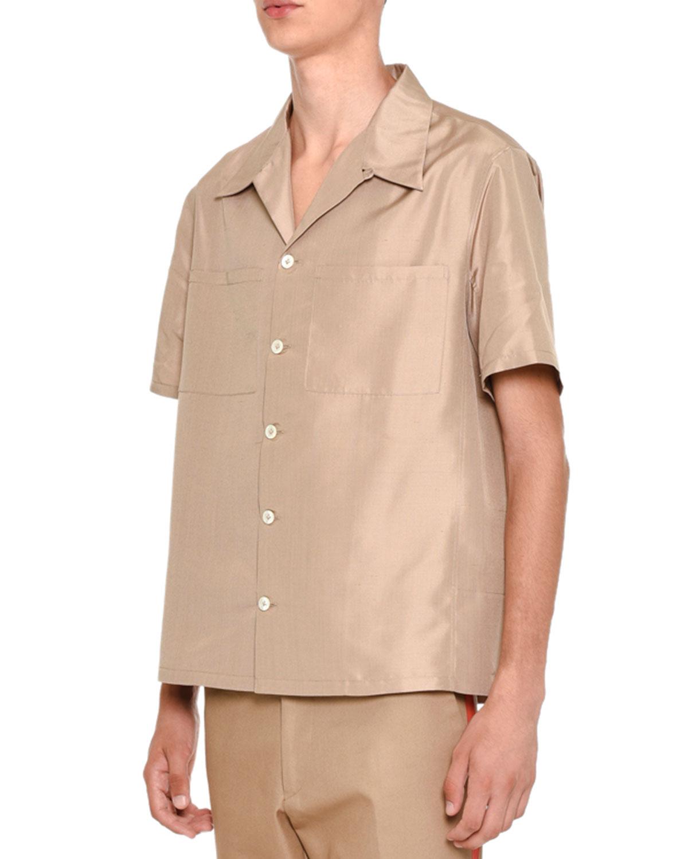 Silk Short-Sleeve Button-Down Shirt, Beige