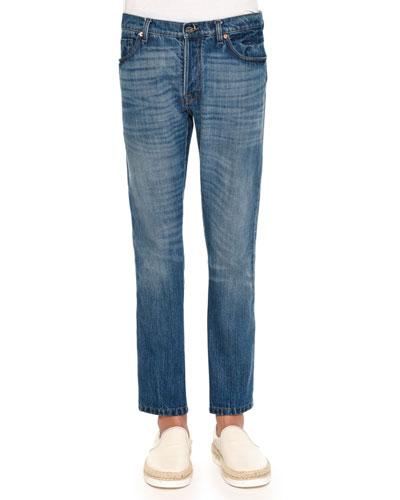 Medium-Wash Jeans with Bleach Detail, Blue