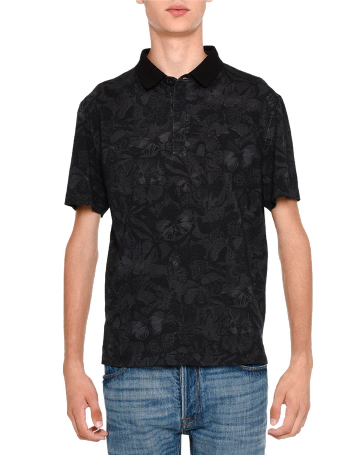 Tonal Butterfly-Print Short-Sleeve Polo, Black