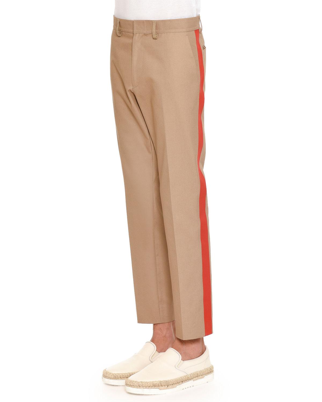 Straight-Leg Pants with Side Stripe, Beige