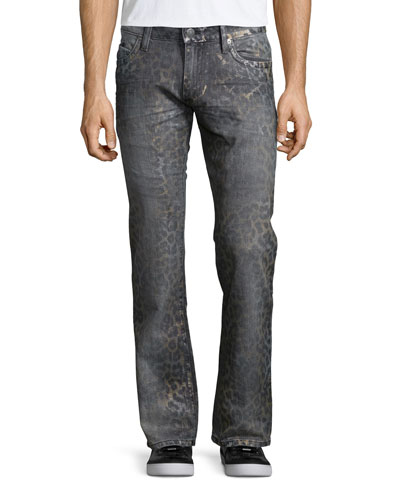 Faded Animal-Print Denim Jeans, Dark Gray