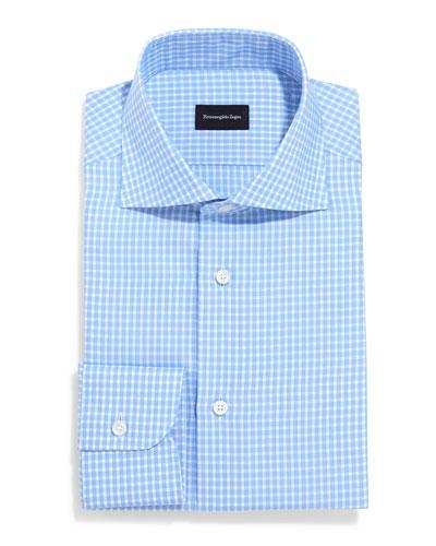 Saturated Check Long-Sleeve Dress Shirt, Light Blue