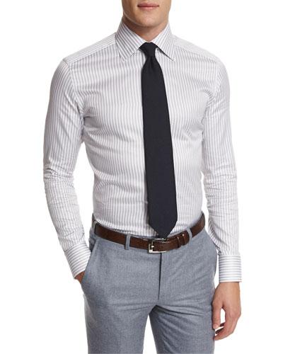 Striped Long-Sleeve Sport Shirt, Multi