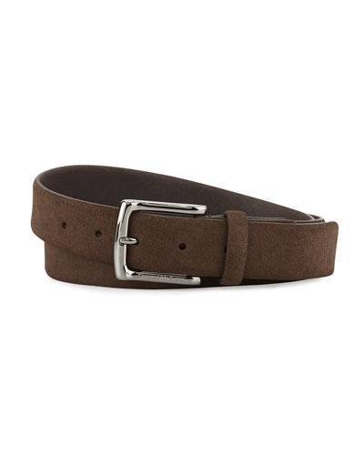 Brown Suede Calfskin Belt