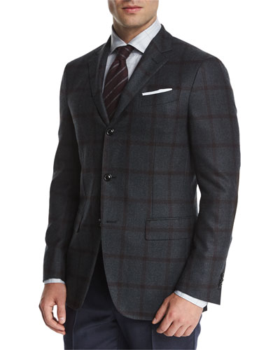 Tonal Large-Windowpane Two-Button Jacket, Blue