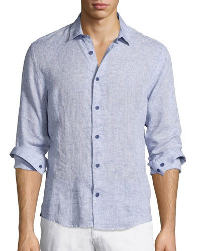 Morton Long-Sleeve Linen Shirt, Navy